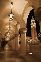 Las Vegas, Nevada, United States Of America, San Marco´s Tower And An Arched Walkway Illuminated At Night
