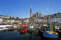 Boats Moored At A Harbor, Cobh, County Cork, Republic Of Ireland