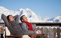 Young couple enjoying winter sun (thumbnail)