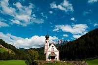 Church on a landscape, St. Johann Church, Funes Valley, Dolomites, Trentino_Alto_Adige, Italy