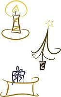 Weihnachten _ Kerze, Baum und Schlitten