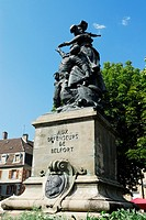 Memorial statue of town defenders  Arms place  Belfort, Belfort territory, Franche Comte region, Europe
