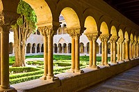Two-storey cloister of the Abbey of Santo Domingo de Silos, Burgos province, Castilla-Leon, Spain