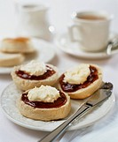 Scones with clotted cream, jam and tea UK