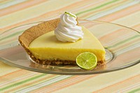 Slice of Key Lime Pie on Glass Plate
