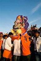 Ganesh ganpati Festival ,Ganesh idol elephant headed god is immersed in to the tank pond Muthannankulam at Coimbatore, Tamil Nadu