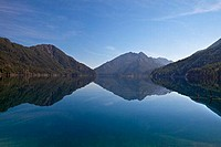 Reflection of mountains in a lake, Lake Crescent, Olympic National Park, Washington State, USA