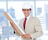 Confident architect holding a blueprint in the company