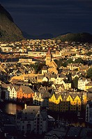 Aerial view of Alesund Norway