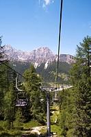 Chair lift Col de Varda, Monte Cristallo in the background, Venetia, Italy
