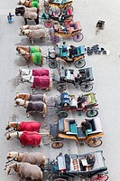 Carriages in row at the Residenzplatz, Salzburg, Austria, bird´s eye view