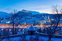 View of the illuminated old town of Salzburg, Austria, elevated view