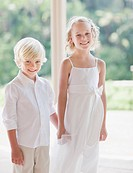Flower girl and boy at wedding reception