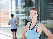 Smiling woman preparing to exercise