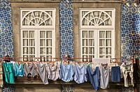 Laundry hanging from window in the Ribeira Quarter, Oporto, Portugal, Europe