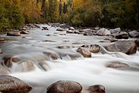 Cascades on the Little Susitna River with fall colors, Hatcher Pass, Alaska, United States of America, North America