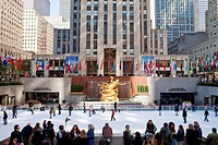 Ice Skating Rink below the Rockefeller Centre building on Fifth Avenue, New York City, New York, United States of America, North America