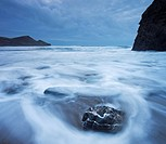 High tide at twilight on Crackington Haven beach, Cornwall, England, United Kingdom, Europe