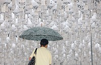 White lanterns honoring the dead, Seoul, South Korea, Asia
