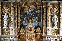 Retable in Notre_Dame de Croas_Batz church, Roscoff, Finistere, Brittany, France, Europe