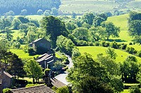 Downham Village at the foot of Pendle Hill,Lancashire,England,UK