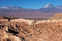Valle de La Muerte or Death Valley with the Licancabur volcano in the background near San Pedro de Atacama in Chile