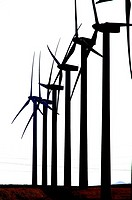 Group of windmills in line