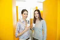 Businesswomen drinking tea in an office