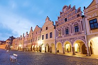 night view from the main square of Trebon, czech republic