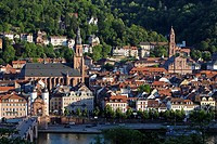 Heidelberg,old town,Heiliggeistkirche,St Spirit church,Old Bridge,Karl Theodor Bridge,Jesuitenkirche,Jesuit church,Baden-Württemberg,Germany