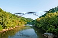Beautiful view of the New River Gorge Bridge in West Virginia  The largest Steel-Arch bridge in the Western Hemisphere