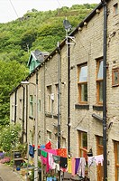 Stone built terraced houses in Hebden Bridge,Yorkshire,England