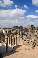 Syria, Bosra, ruins of the ancient Roman town a UNESCO site, ruins of Decumanus main east_west colonnaded street and Nymphaeum monumental fountain