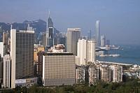 CAUSEWAY BAY HONG KONG Skyscraper buildings Causeway bay Wanchai harbour waterfront and Central