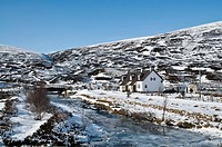 BALSPORRAN INVERNESSSHIRE Bed and breakfast cottage in snowy scottish glen river snow scene