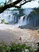 Tourist boat that sails between Argentina Iguazu Falls