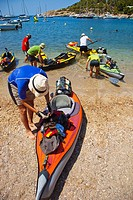 Kayaking around the island. Cala Salada beach. Santa Agnés de Corona. Ibiza. Balearic Islands. Spain.