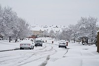 Heavy wet snowfall covering city streets, second heaviest snowfall in 100 years in Plano and Dallas area, Texas, U S A , january 2010
