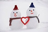 Snowman couple with heart shape, Yamagata Prefecture, Japan.