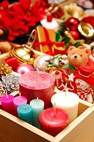 Box of assorted Christmas decorations, toys and candles