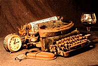 Antique Typewriter and Clock