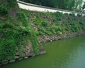 Castle wall and moat in Nagasaki Prefecture, Japan