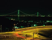 Akashi Channel Bridge in the night, Akashi city, Hyogo prefecture, Japan
