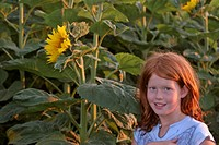 saskatchewan, girl, southern, scenic, sunflowers, young