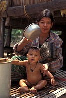 washing, baby, cambodia, person, people, woman
