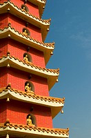 Red pagoda at the ten thousand buddhas monastery Sha Tin Hong Kong China