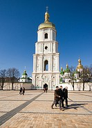 Bell tower of St Sophia Cathedral at Sofiyska Square Kiev Ukraine