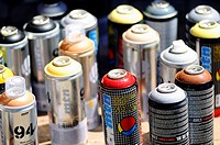 Aerosol cans to paint graffiti