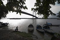 Bridge across a river, Vidyasagar Setu, Hooghly River, Kolkata, West Bengal, India