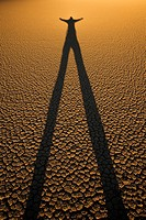 Person shilouette at Racetrack playa Death Valley national park